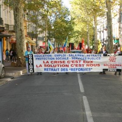 manifestation interpro 11 Ocotobre à Draguignan
